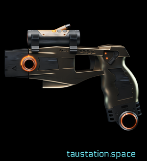 A brown, handy taser with a gun sight. Some parts have orange illuminations.