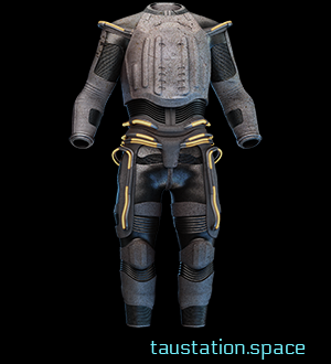 Worn Diffusion Armor. This thick, non-conductive plastic shell chafes in uncomfortable places. The back piece is cracked and the buckles are rusted, but it's still mostly serviceable.