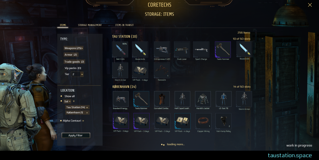 "UI of the ""storage"" page: various filter options like item type and location are arranged in a box on the left while 80% of the screen shows many storage slots with item pictures inside while their frames indicate each item's rarity."