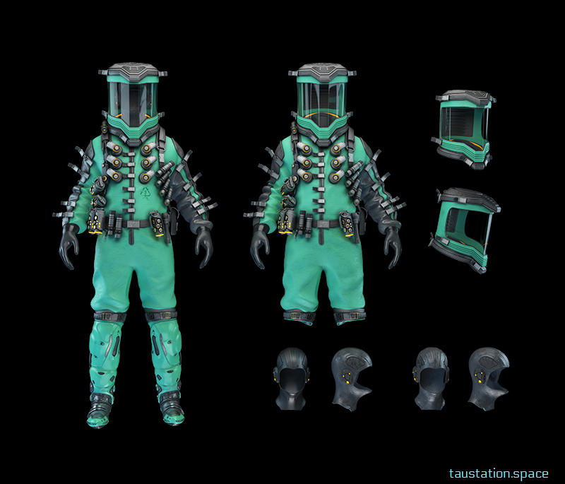 Two versions of a modular type hazmat looking armor. Turquoise in color with various segments and tools attached. To the right, angular shots of the interior and exterior helmets.