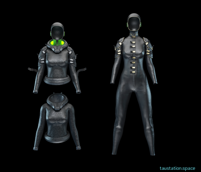 Black and sleek looking female body armor. The first one show the top separately. The top image showing it with the hood up and with a green face light glowing and the bottom image with the hood down.