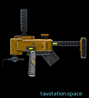 A mechanical multitool with various grips and devices coming out at different angles. Dark yellow in color with what appears to be a rifle-like shoulder stabilizer on the back end.
