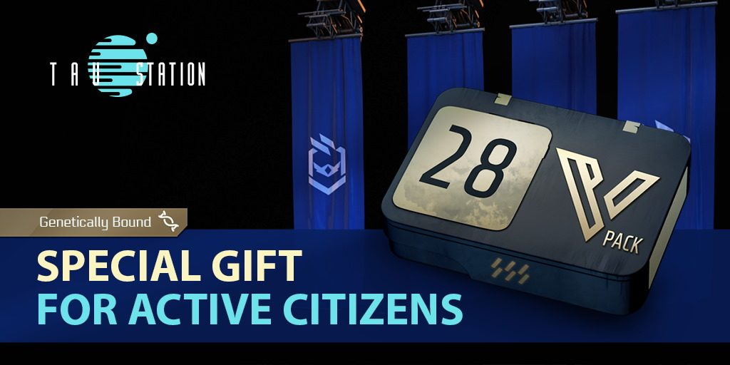 """4 blue Consortium flags in the background. A huge VIP pack is in front of them, in big letters 28 states the duration in days. On a blue ribbon, the slogan states """"Special Gift For Active Citizens"""". The icon for being """"genetically bound"""" indicates that the pack is not tradeable."""