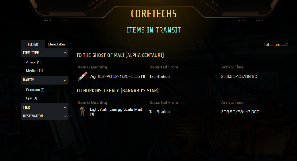 UI of Items in Transit page. Some filter categories are collapsed, but non is selected. The main part of the screen is a table, showing 2 destination stations right now. We're sending 1 item to these 2 stations right now and the table shows an item thumbnail, its name, where it was sent from and the arrival time.