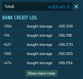 "Snippet of a bank credit log that shows various entries about ""bought storage"""