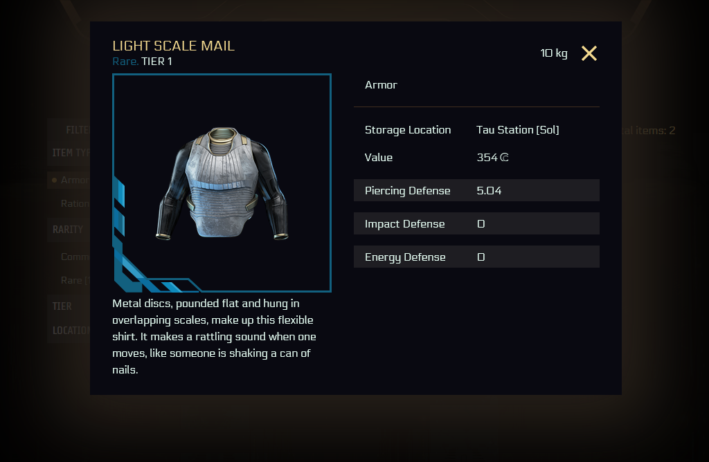 "UI of the new item detail screen with a rare Light Scale Mail of tier 1, further content is the picture, the short description, it's mass in kg, item type ""armor"", the storage location (Tau Station), its value (354 credits), and defense values."