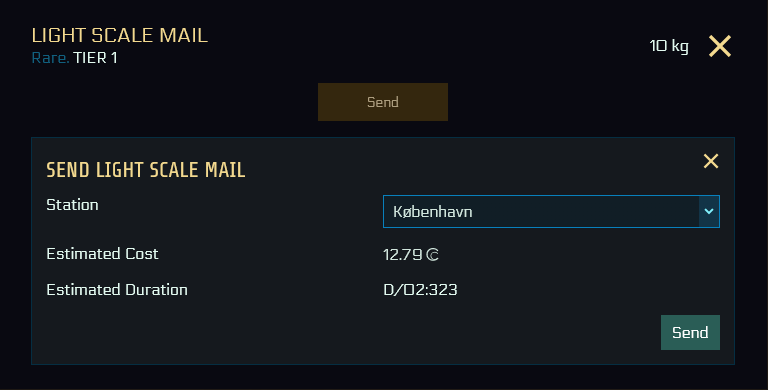 "Small UI of the ""send"" pop-up, showing the item name, rarity and tier, and mass. You can select the destination via pull down menu, in this case Kobenhavn is selected. The estimated costs and estimated duration are displayed below."