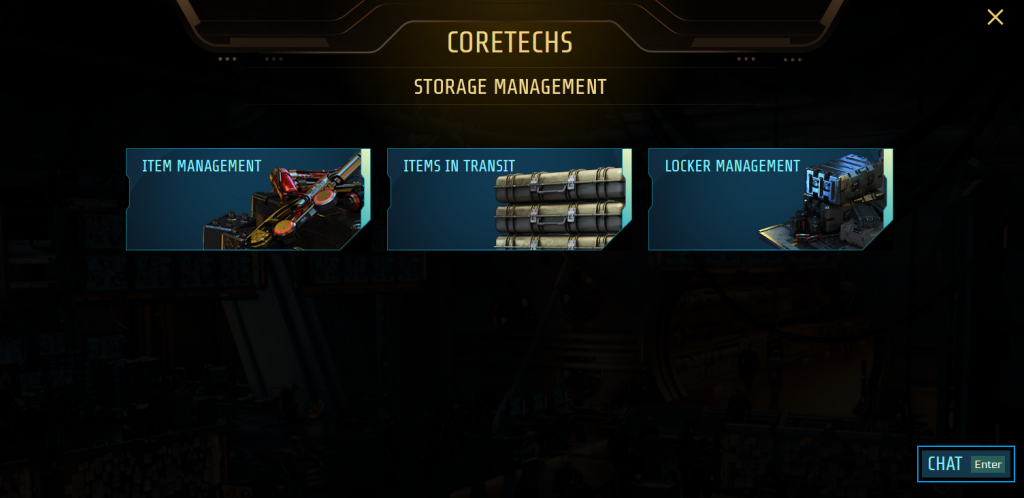 Main screen of the CORETECHS - Storage Management, with 3 picture cards for entering the according feature page: Item Management, Items in Transit, and Locker Management.