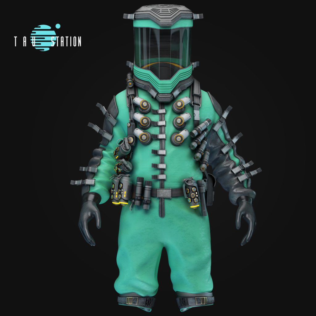 A new, green hermetic suit with lots of buckles and a belt for tools and grenades.