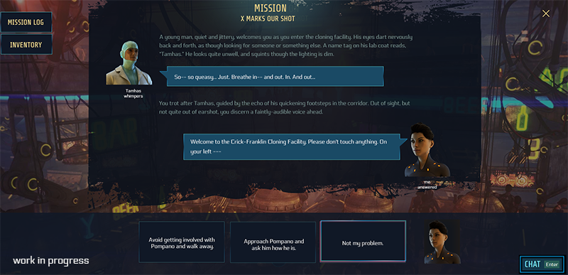 Snippet of the new mission UI that uses full-screen soon. Next to speech bubbles, the individual avatars are shown. Furthermore, options are now always at the bottom.