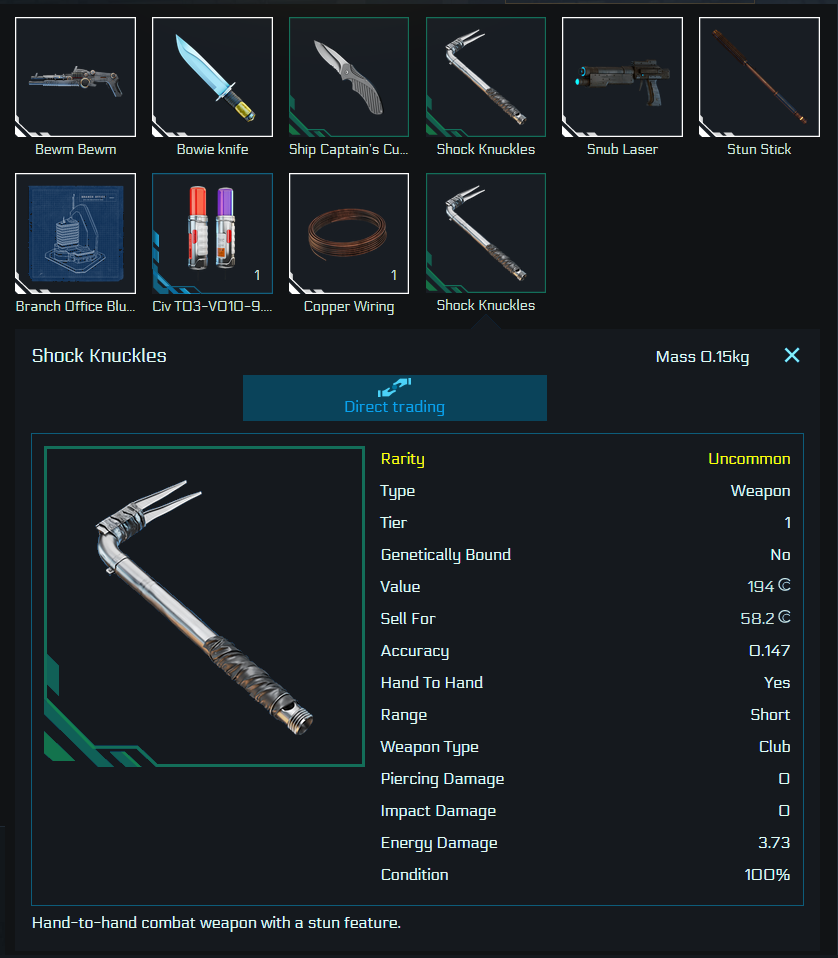 Direct trading UI: your inventory is shown. Selecting an item shows the detail screen with all details and unlocks the button for direct trading which means selecting this item.