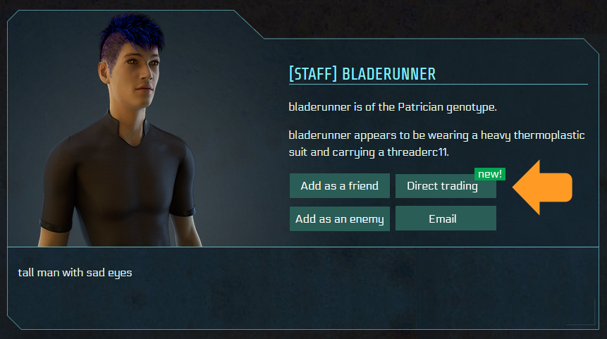 A profile page of a male person 'Bladerunner' with a purple mohawk. 4 buttons show the options to interact with him: Add as a friend, Add as an enemy, email, and Direct Trading.