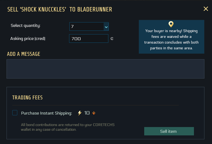 UI for further preparing the offer after the item has been selected: it shows the items name, you can select the quantity, the asking price, add an optional message and activate the option of instant shipping for 10 bonds.