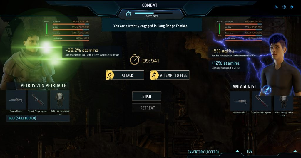"""New W.I.P. combat UI: new combat is in full screen mode with the remaining time bar on top in the middle. the attacker on the left, showing the avatar, name, all stat bars, both weapons, armor and belt (in this case minimized due to """"skill locked""""). The opponent is shown on the right with the same information besides combat belt. Hits are indicated at the avatars with beams, flashes etc in different colors, depending on main damage type. A stim icon indicates that one player used a stim pack. Options are in the middle with attack and attempt to flee. New options are rush, respectively retreat buttons."""