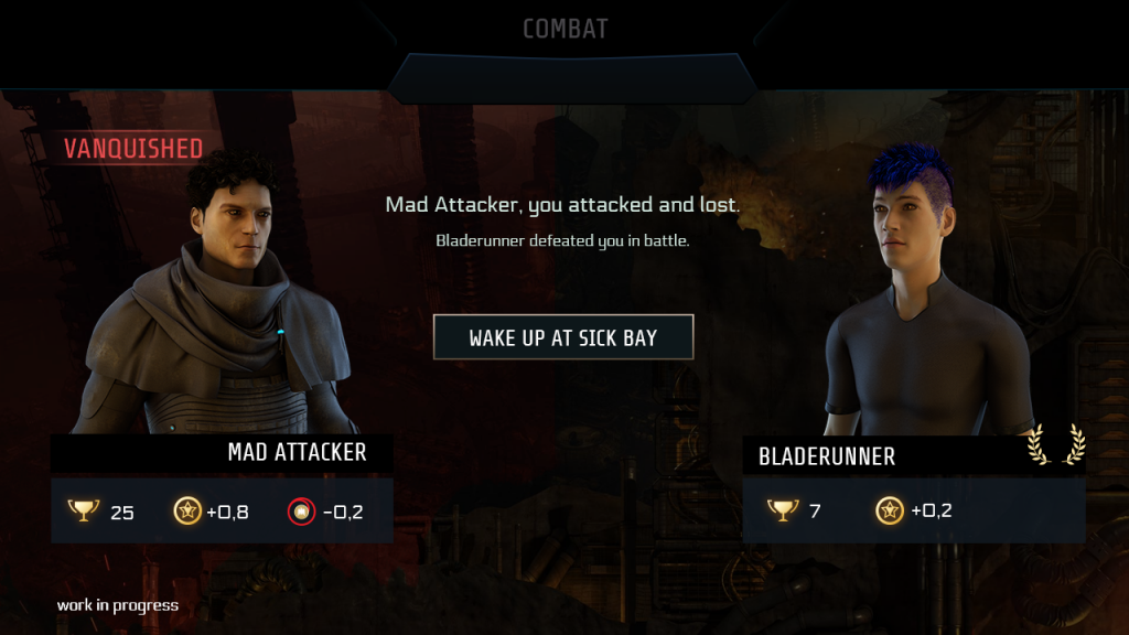 "End of PVP screen: in this case you lost which is stated right next to your avatar ""Vanquished"", also indicated by a red background. Again, below both players, icons reflect the results, such as a counter for victories, XP gain and reputation change. As you've been defeated, the only button available is to ""wake up at Sick Bay""."