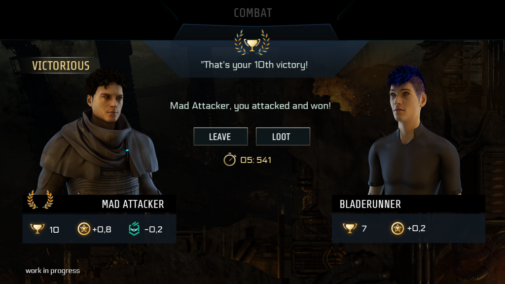 "End of PVP screen, showing avatars of both participants. In this case the attacker has won, indicated by a laurel wreath and the banner ""Victorious"". Below both players, icons reflect the results, such as a counter for victories, XP gain and reputation change. There are 2 options/buttons to choose from; either to leave or loot. A countdown shows the time remaining for your decision."