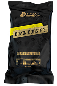 "Another meal ready to eat by Sinclair Biomeats: ""Brain Booster"", a meal ready to eat, in a black package."
