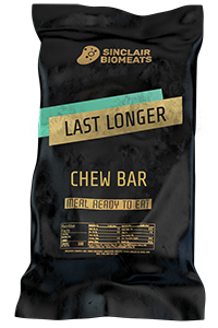 "A chew bar named ""Last Longer"" in black packing with Sinclair Biomeat logo on top."