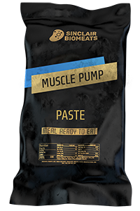 "A ration pack created by Sinclair Biomeats in black packing. ""Muscle Pump"", a paste meal ""ready to eat""."