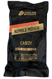 "A black ration pack created by Sinclair Biomeats which contains ""Nimble Mover"", a candy, ready to eat."