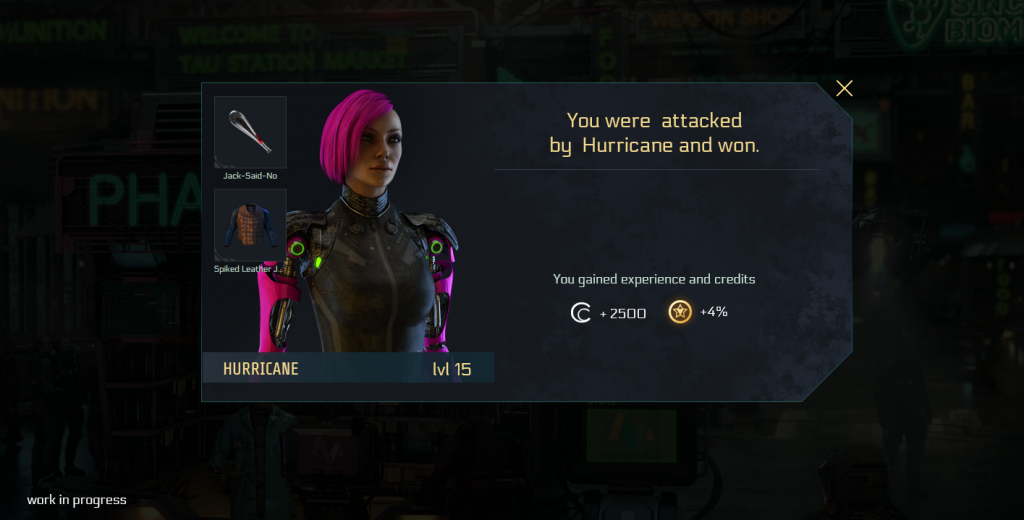 A popup telling you that you've been attacked by level 15 player Hurricane, but you won. The screen shows the female avatar, armor and primary weapon of Hurricane. In addition, your reward is listed: credits (2500) and experience points (4%).