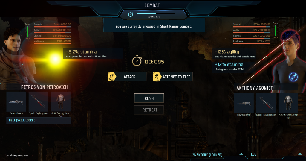 """New combat in landscape view (full screen) with the remaining time bar for guards arrival on top in the middle. the attacker on the left, showing the avatar, name, all stat bars, both weapons, armor and belt (in this case minimized due to """"skill locked""""). The opponent is shown on the right with the same information besides combat belt. Hits are indicated above the avatars with a beam, respectively big scratch, depending on main damage type dealt. A stim icon indicates that one player used a stim pack. Options are in the middle with attack and attempt to flee. New options are rush, respectively retreat buttons. At the lower right bottom arrows indicate that you can call up the log or inventory (currently locked)"""
