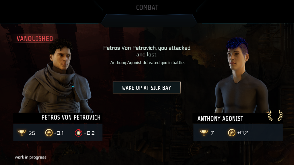 "End of PVP screen, showing avatars of both participants. In this case the attacker has lost, indicated by a red background and the banner ""Vanquished"". Below both players, icons reflect the results, such as a counter for victories, XP gain and reputation change. There is only one buttons to ""wake up at Sick Bay""."