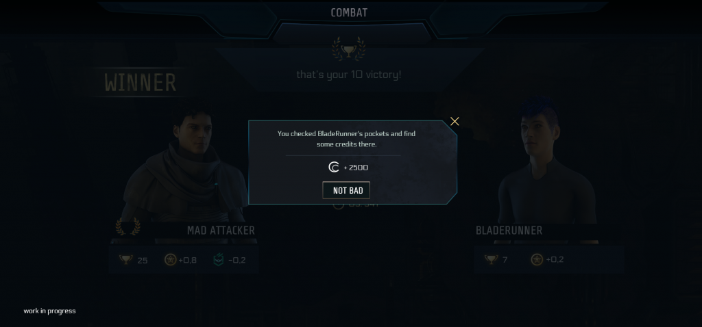 The battle result screen is faded out with a pop-up above showing the amount of credits (here 2500) you gained by looting your enemy.