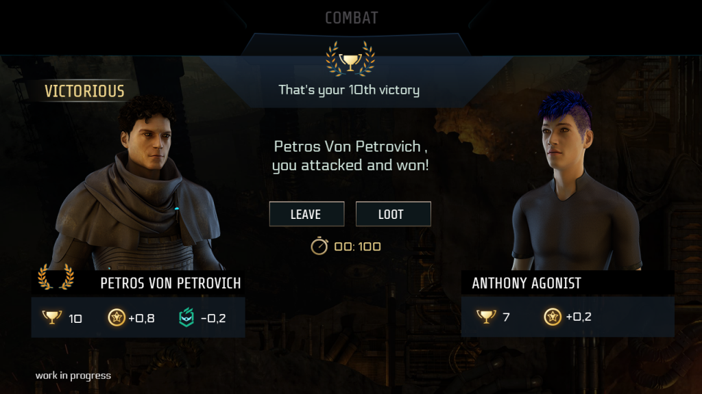 "End of PVP screen, showing avatars of both participants. In this case the attacker has won, indicated by a laurel wreath and the banner ""Victorious"". Below both players, icons reflect the results, such as a counter for victories, XP gain and reputation change. There are 2 options/buttons to choose from; either to leave or loot. A countdown below shows the time remaining for your decision (100 units in this case)."