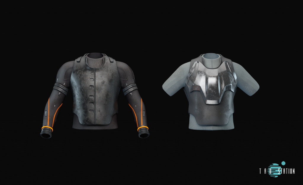 A dark solid carbon vest and massive long sleeves with orange illuminations. The second torso protection is brighter with short sleeves only, but it has a massive shiny metal plate on the chest.