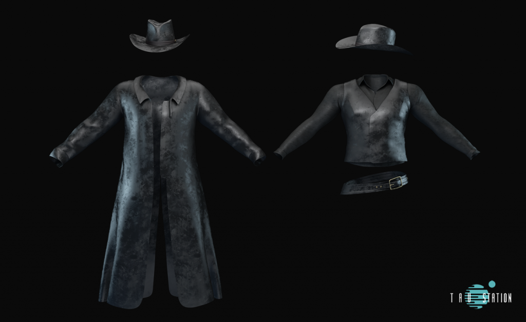 """A worn, long black leather coat with a black cowboy hat and a female """"wild west"""" dress, consisting of a similar black leather hat, a black vest with a black long sleeve beneath, and a belt."""