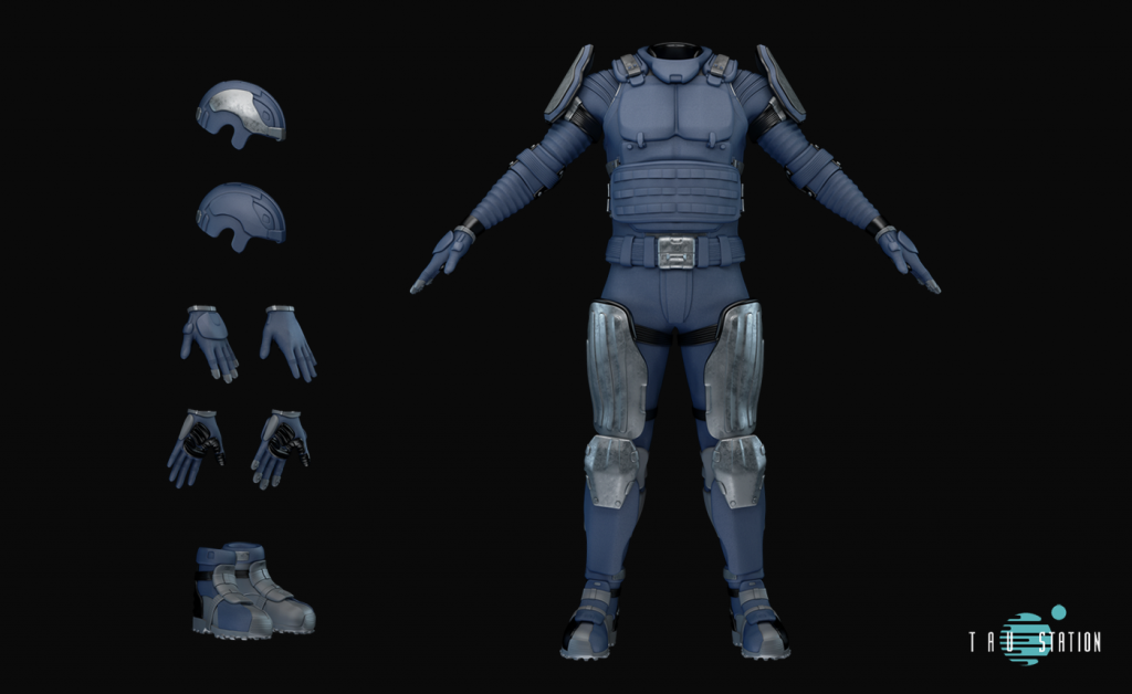 Blue riot gear, protecting the entire body, consisting of a helmet, gloves, safety footwear, bolstered long sleeves, a bulletproof waistcoat, a belt, shoulder protection and metal femoral protectors.