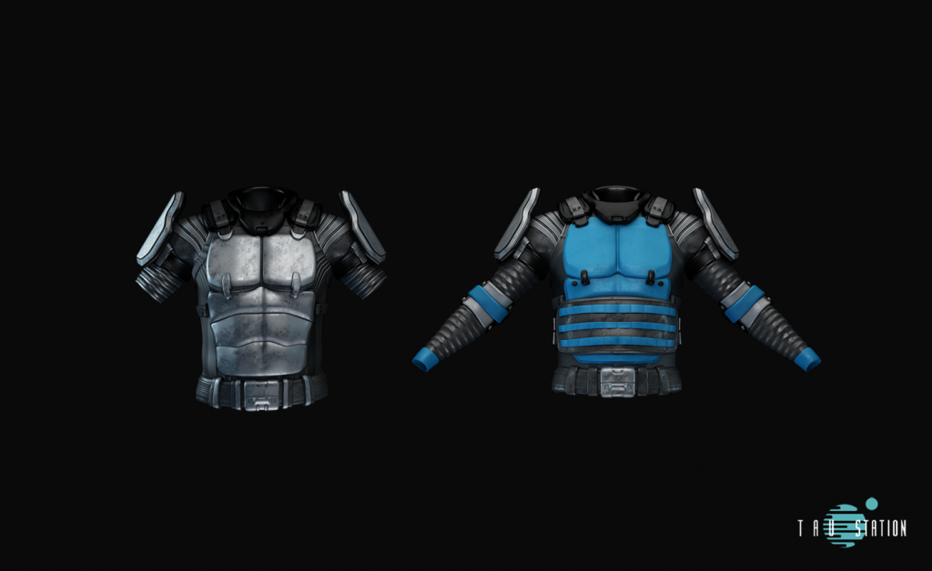 2 massive torso protections. The first one has short black sleeves, a massive metal belt and shoulder plates and a scale armour. The second one has long sleeves and blue applications, also shoulder plate extensions, but no metal scale armour. Instead, it has a hip strap for extra belly protection.
