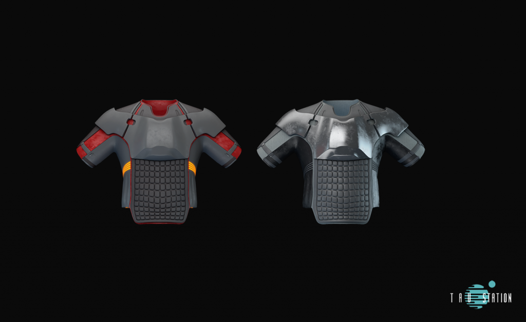 2x short sleeve torso protective gear with rubber. The first one has red applications and is entire made of rubber with an apron above the belly. The second one has no colorful applications, it's just grey, but has a metallic chest protection instead.