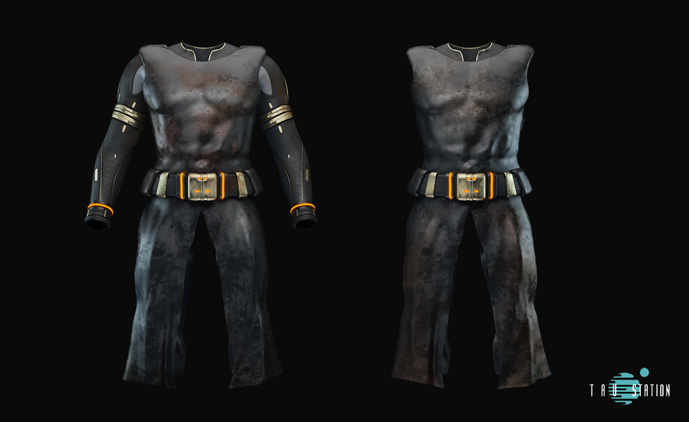 2 brown leather capes with chaps and a massive belt. The first one even has long sleeves with some metallic applications while the second version is without arm protection.