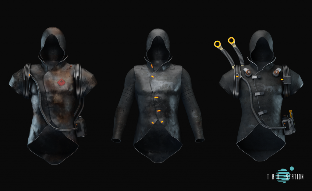 3 worn Hooded Jackets made of dark leather, one with long sleeves. The other 2 have several applications and clips.