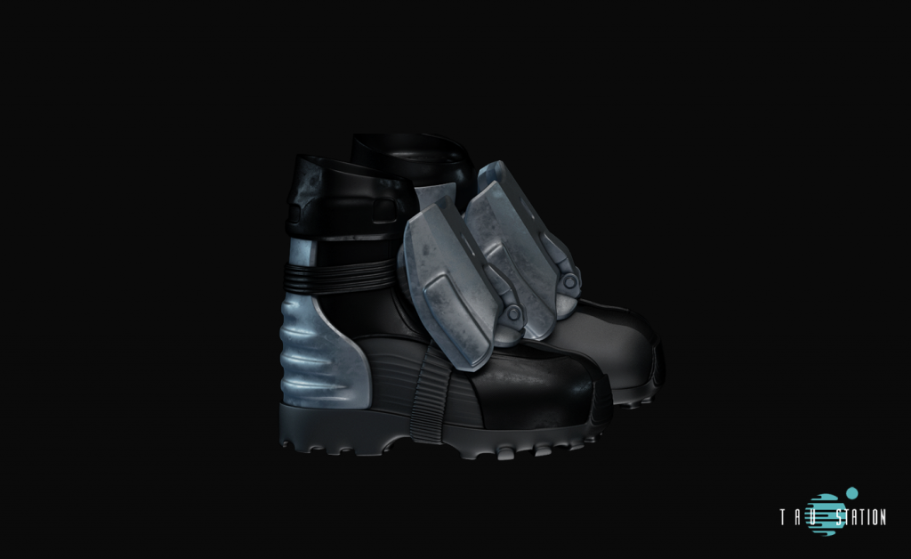 Black protective shoes with metal caps and pimple soles. A metal plate protects your Achilles tendons. The shoes get tied with a mettalic belt tension on your instep.