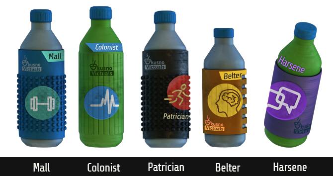 5 drinks by kusno Victuals in plastic bottles with a variety stat icons that indicate which stat gets boosted by this liquid. The first one is blue and shows a strength icon, the black bottle has an agility icon, the green slightly taller drink, has a stamina sign. The fourth, brown bottle is a bit smaller and shows an intelligence icon. The last, purple one indicates that it gives a boost on the social stat.