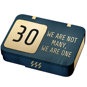 "A blue 30 days VIP pack with the message ""We are not many, we are one"""