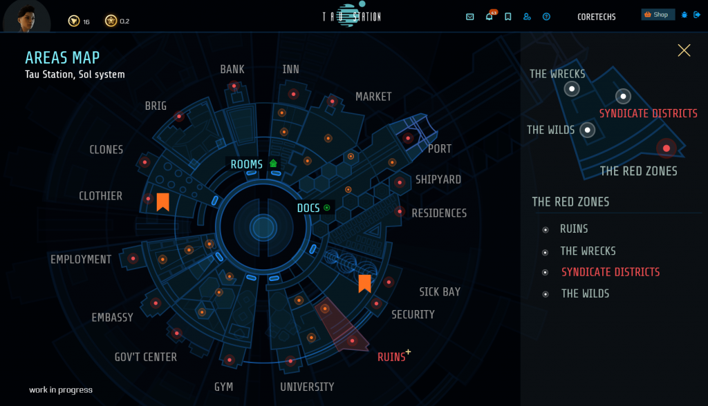 Full screen view of the upcoming areas map. The segment of ruins is selected which is indicated in red. A window shows a detail view of this area with a list of all (sub)areas, and a minimap view explains which single dot represents which sub-area.