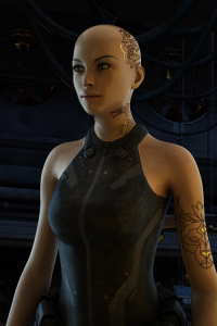 A Freebooter woman without hair and caracal tattoos on her head, neck and left arm, wearing a racer-back one-piece suit.
