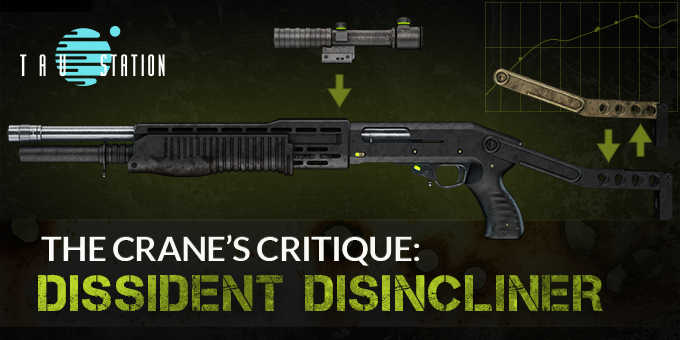 The black Dissident Disincliner shotgun with optional attachments