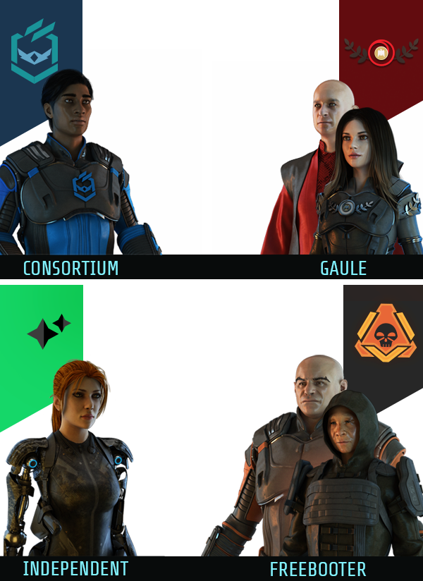 Representatives of the 4 affiliations: Consortium, Gaule, Independent and Freebooter