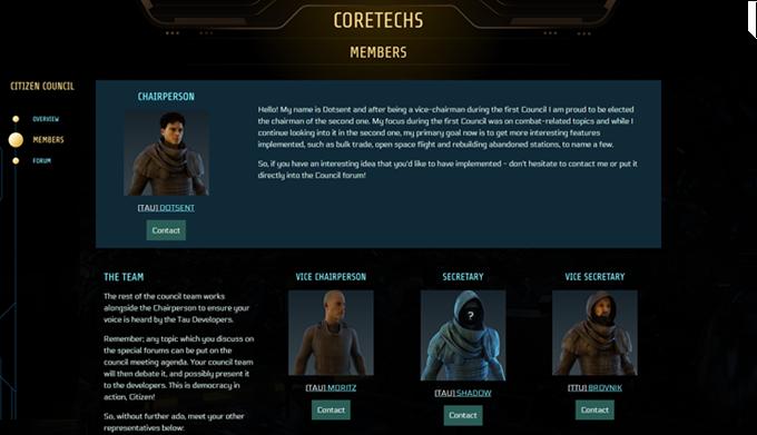 Citizen Council page inside your CORETECHS