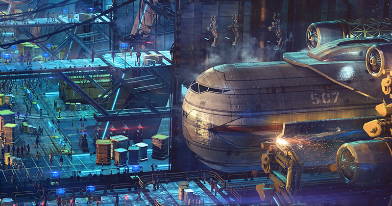 Space port of Tau Station with many busy workers doing their job in this gigantic hall. A huge vessel being maintained, a lot of cargo standing on various platforms.
