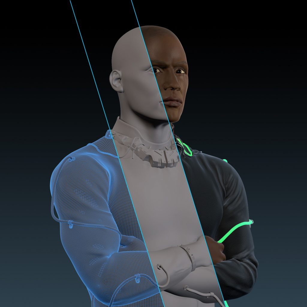 A collage of an avatar of a black male, showing 3 stages of picture creation: the left part shows the grid model with polygons, the middle part has a surface, the right part shows the avatar including textures