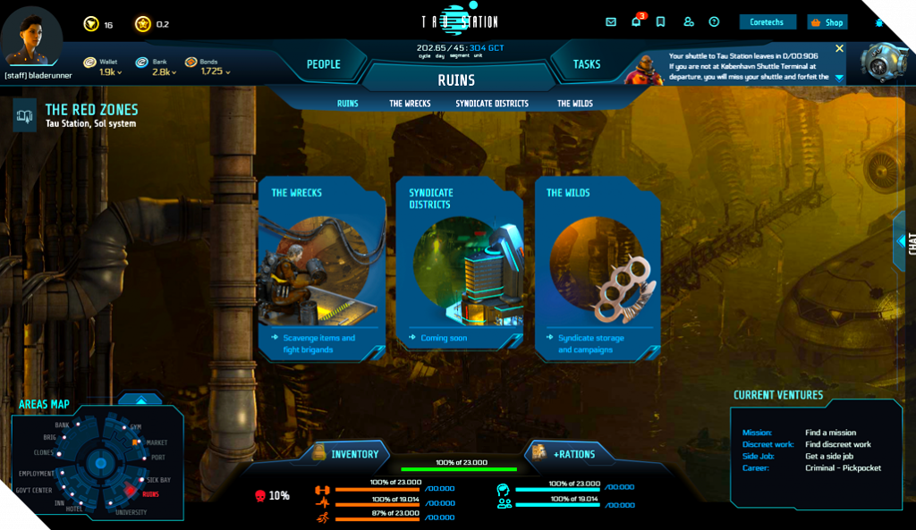 Upcoming landscape user interface of scavenging ruins on Tau Station