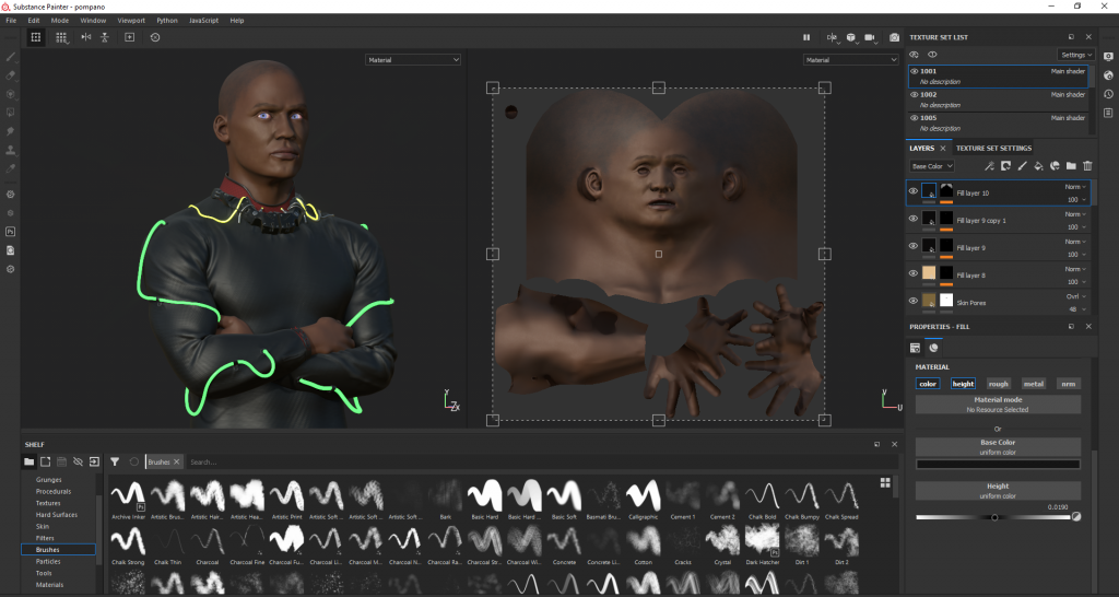 screenshot of the substance painter software where painting the textures happens. The 2D textures projected onto the 3D model in here.