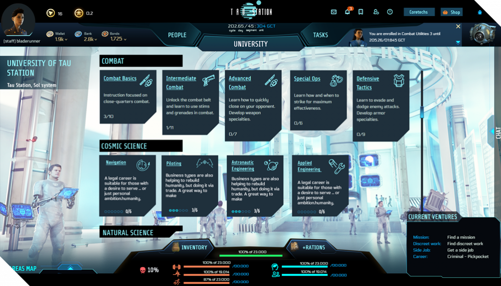 skill trees at the University, such as combat with sub-categories like defensive tactics