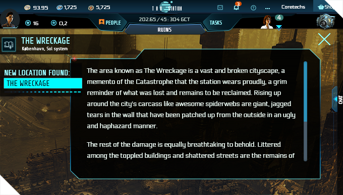 area description of the wreckage area in the ruins